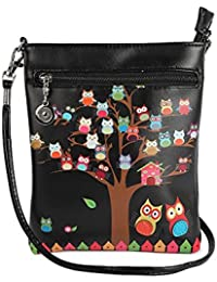 Stylish Multi Color Printed PU Leather Sling Bag For Girls / Women / Ladies 3 Zipper Pocket Cross Body Bag By... - B073RK17KJ