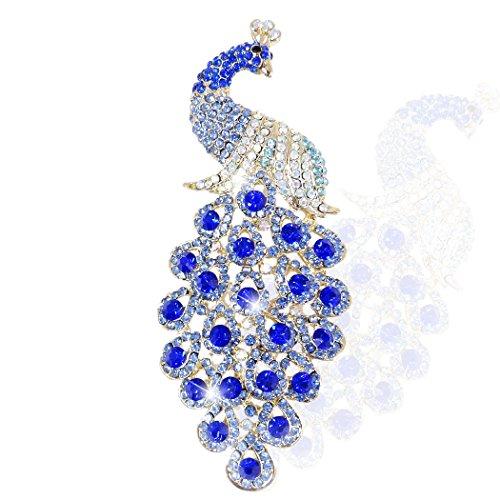 EVER FAITH Spilla Gioiello Cristallo Austriaco Elegante Animale Pavone Plume Pendente Spilla Oro Fondo