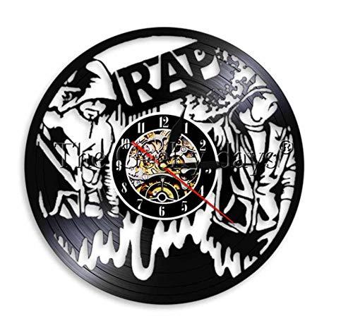 usik Wanduhr Schallplatte LP Uhr Hip Hop handgemachte Moderne Wand Kunst Stempeluhr Geschenk für Rapper ()