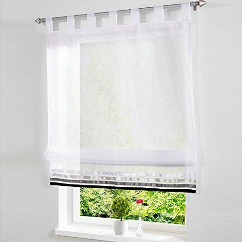 1er-Pack Raffrollo mit Satinband Gardinen Voile Transparent Vorhang