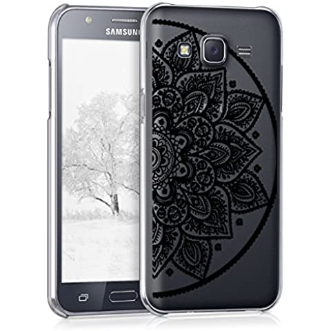 kwmobile Elegante y ligera funda Crystal Case Diseño flor mitad india para Samsung Galaxy J5 (2015) en negro transparente