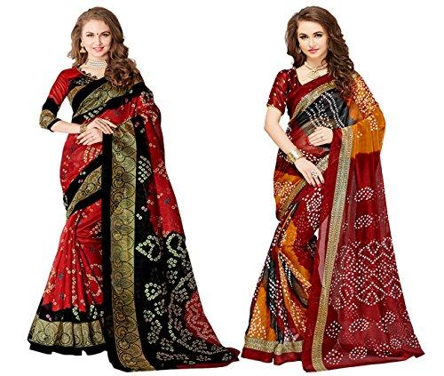 Glory Sarees Women\'s Bhagalpuri Art Silk Bandhani Saree Combo Pack of 2(bandhani28&29_red_black)