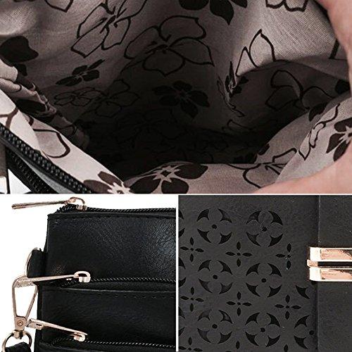 Gosear Donne Ladies PU In pelle Moda Vintage Stile Spalla Borsa Messenger A tracolla Borsa con Cava Fiore Modello Esterno Marrone Nero