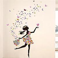 Meihuida Magic Fairy Dancing In Flower Release Butterfly Wall Sticker For Girls' Decoration by Meihuida