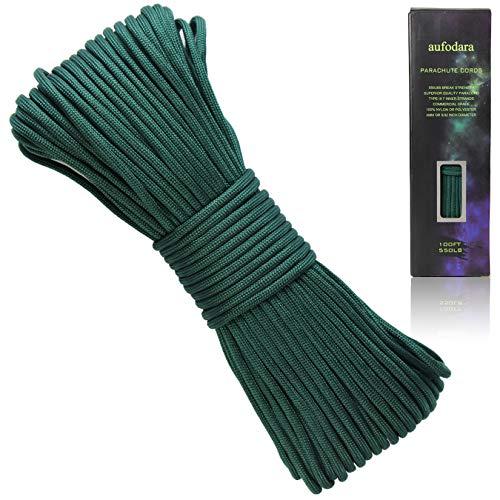 aufodara Paracord Schnur Reißfestem Outdoor Survival Seil 100ft Fallschirms Schnur 7 Kern-Strängen 4mm Mehrzweck-Seil 250kg (550lbs) Nylonschnur Polyesterseil (dunkelgrün)