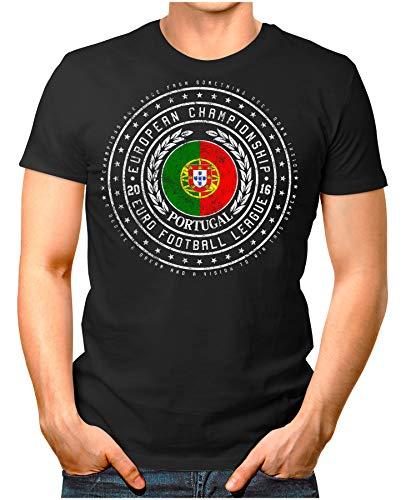 Legendary Items Herren T-Shirt EM 2016 Wappen Portugal Fußball Europameisterschaft Vintage European Championship schwarz S (Sporting Fc Portugal)