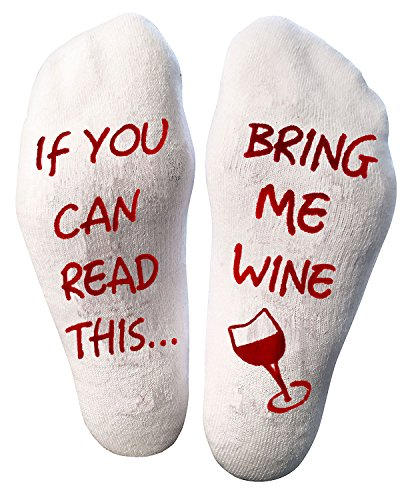 Atlecko Funny Bring Me Wine Socks Wein Socken For Christmas - Thick Cotton, Washable - Perfect Women Birthday Present, House Warming Suprise, Party Gift Idea (Mum, Grandma, Aunt, Wife) -