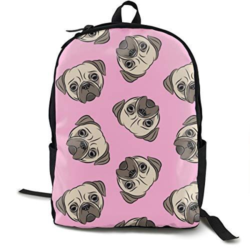 Pugs On Pink - Pug Cute Dog Face Adult Premium Travel Backpack, Water-Resistant College School Bookbag, Sport Daypack, Outdoor Rucksack, Laptop Bag for Men&Women -