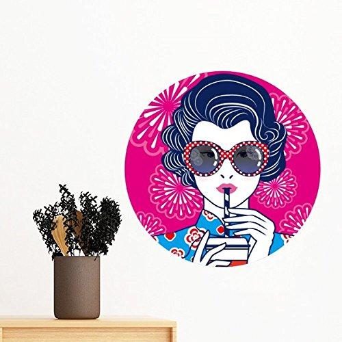 DIYthinker Chinesische Kultur Rote Frau Brille entfernbarer Wand-Aufkleber-Kunst-Abziehbilder Wand-DIY Tapete Für Zimmer Aufkleber 40Cm