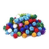 LIANA IRWIN Mini Pompons,1cm Glitzer Lametta Pompon Ball,100 Stück Bunte Pompom für DIY Kreative Handwerk Dekoration -