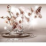 decomonkey Fototapete Blumen Orchidee 350x256 cm XL Tapete Wandbild Wandbild Bild Fototapeten Tapeten Wandtapete Wandtapete 3d Effekt Wasser rosa