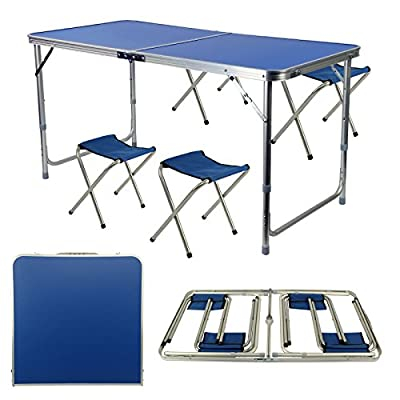 AllRight Portable Folding Table With 4 Chairs Set For Camping Party Picnic Garden Dining - low-cost UK light store.
