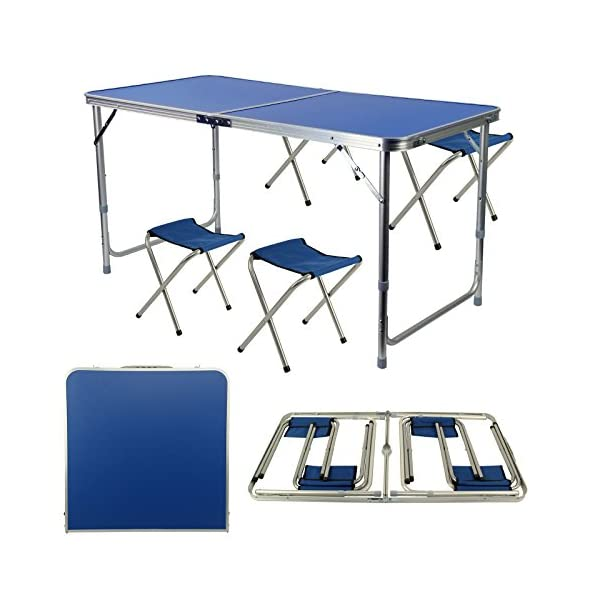 AllRight Portable Folding Table With 4 Chairs Set For Camping Party Picnic Garden Dining 1