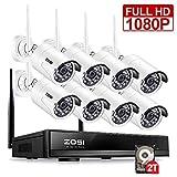 ZOSI 8CH 1080P Wireless NVR System WLAN Überwachungssystem mit 2TB Festplatte Plus 8 Außen HD 1080P Funk IP Überwachungskamera Set, 20M IR Nachtsicht