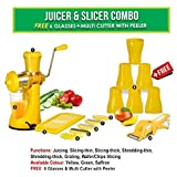 MB LIFESTYLE Manual Fruit Vegetable Hand Juicer,6 In 1 Slicer Dicer Grater, 6 Plastic Glasses & Multi Cutter With Peeler Kitchen Combo(Yellow,Set Of 15)