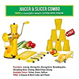 #6: MB LIFESTYLE Manual Fruit Vegetable Hand Juicer,6 In 1 Slicer Dicer Grater, 6 Plastic Glasses & Multi Cutter With Peeler Kitchen Combo(Yellow,Set Of 15)