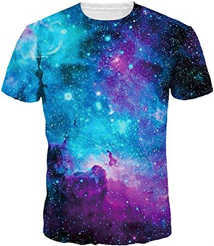 Imbry herren bunt galaxy 3D Druck Rundhals Casual Strassenmode Sport Spaß Motiv Tops T-Shirt (XXL, Interstellar)