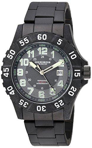 Akribos XXIV da uomo, colore: grigio-Orologio da donna al quarzo con Display analogico e braccialetto in acciaio INOX con AK794WT, colore: nero