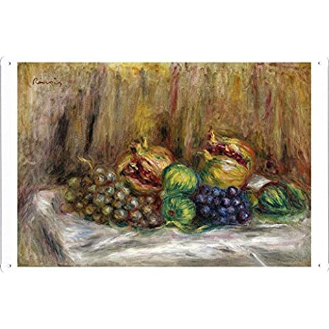 metallo manifesto piatto decorazione della parete Targa in metallo di Pierre Auguste Renoir - Still Life with Granates, Figs and Grapes 20*30cm by Masterpiece