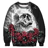 Cypapa® Herren Damen Skelett 3D Geist Skull Rose Print Langarm Sweatshirt Pullover(M, Schwarz)
