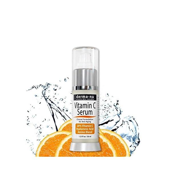 Suero de Vitamina C para el Rostro con 20 % de Vitamina C y Ácido Hialurónico por Derma-nu – Tratamiento Orgánico de la…