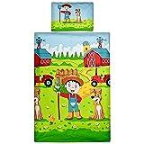 Aminata Kids Kinder-Bettwäsche 100-x-135 cm Bauernhof Bauer Tier-e Pferd-e Traktor Trecker Baby-Bettwäsche 100-% Baumwolle Renforce hell-blau grün rot-er Bunte Junge-n und Mädchen