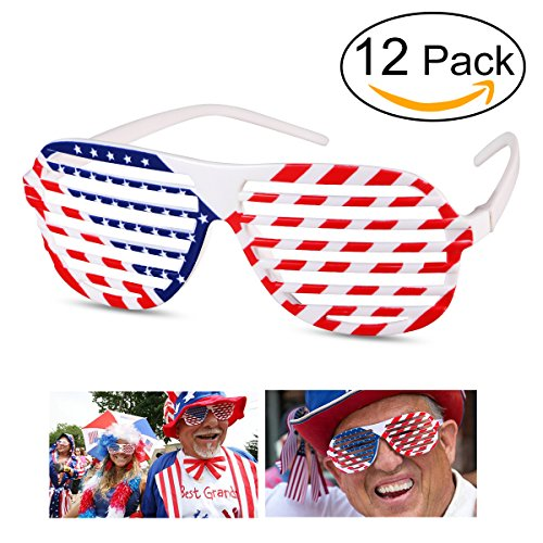 LUOEM Amerikanische Flagge Gläser Shutter Shade Sonnenbrille Brillen USA patriotischen Design für 4. Juli Party Requisiten Dekoration 12st