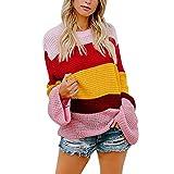 Damen Strick Pullover Oversize Strickpulli Teenager Mädchen Süß Mode Gestreift Farbe Gestrickt Sweatshirt Rundhals Loose Strickpullover Stricksweater Bluse Tops.