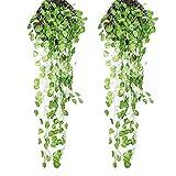 XONOR Künstliche hängende Pflanzen Blätter - 2 Bündel gefälschte Ivy Vine Grün Blätter für Indoor Outdoor Garten Hochzeit Dekoration (Begonie Blätter)