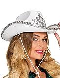 Generique - Prinzessinnen-Cowboyhut für Damen Weiss-Silber