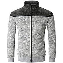 Sallydream Männer Reißverschluss Splicing Button Pullover Langarm Sweatshirt Tops Bluse 5728