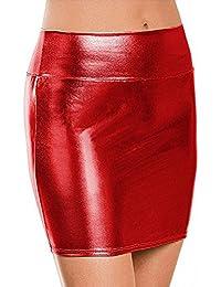 e0632e7690ba ZILucky Damen Sexy Elegante Röcke Minirock Rock in Latex Leder Lack Optik  WetLook Clubwear Party Kurze Mini…