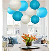 A LIITTLE TREE Piece Mixed New Round Paper Lanterns Lamp Wedding Birthday Party Decor Sky Shade(12), 8 Inches + 10 Inches