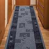 Alfombra De Pasillo Antideslizante - Color Gris Basalto De Diseño Bordura - Mejor Calidad - Diferentes Dimensiones S-XXXL 67 x 400 cm