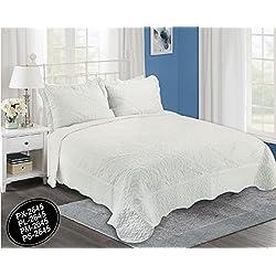 ForenTex- Colcha Boutí Cosida y Bordada, (PX-2645), cama 180 cm, 270 x 260 cm, Blanco crudo, +2 fundas cojín 50 x 70 cm, colcha barata, set de cama, ropa de cama. Por cada 2 colchas o mantas paga solo un envío (o colcha y manta), descuento equivalente antes de finalizar la compra.