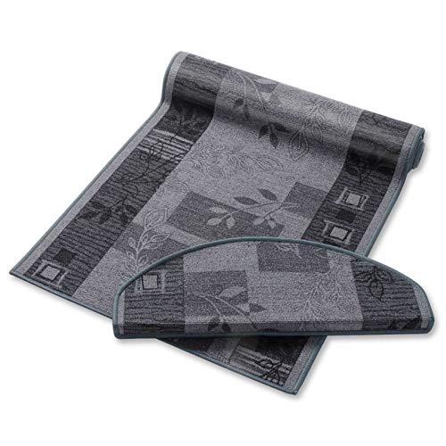 Stufenmatte grau mit Pflanzenmusterung   Qualitätsprodukt aus Deutschland   GUT Siegel   kombinierbar mit Läufer   65x23,5 cm   halbrund   einzelne Matte - Treppenstufen Teppich, Teppich Läufer
