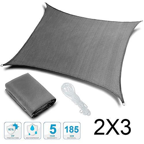 Rovtop Tenda a Vela in PES, 2x3M, Tenda Parasole Esterno,Impermeabile, Protezione Anti Raggi UV