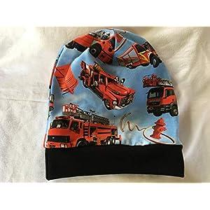 Beanie Mütze Feuerwehr hellblau Kopfumfang 50-55 cm