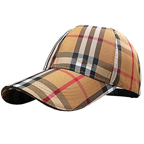 Belsen unisex klassisch Plaid Baseball Cap Trucker Hat Kappe Hut (Braun) Plaid Trucker Hut
