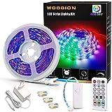 Wobsion Bande LED RVB de 5 m à intensité variable - 5 m - Autocollante - Avec télécommande - Pour chambre à coucher, télévisi