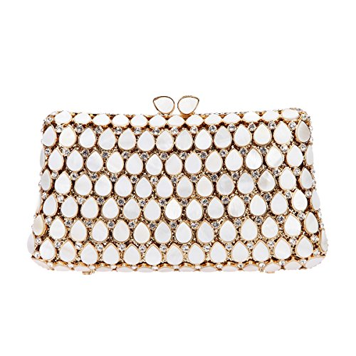 Bonjanvye Shell Clutch Purses and Handbags for Women Evening Clutch Bag Gold