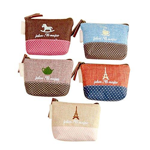 Bigboba Mini porte-monnaie en toile pour femme, petite taille, chouette, sac de rangement pour clés, écouteurs, rouge à lèvres, carte, 5 pièces