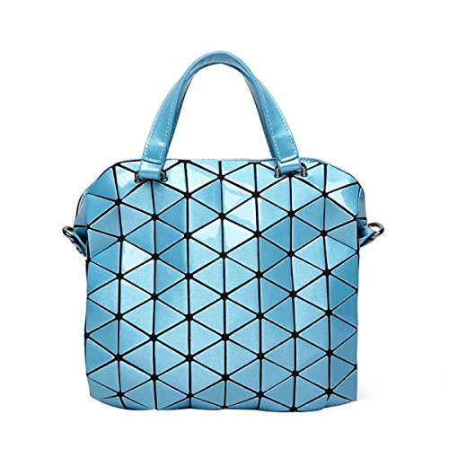 Damen Handtasche Handtasche Trend Geometric Lattice Aktentasche Umhängetasche Skyblue
