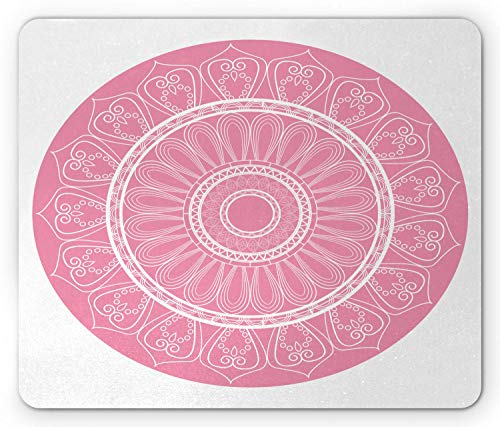 SHAQ Pink Mandala Mouse Pad Mauspad, Circular Cosmos Spiritualism with Ethnic Arabian Geometric Culture Lines, Standard Size Rectangle Non-Slip Rubber Mousepad, Baby Pink White