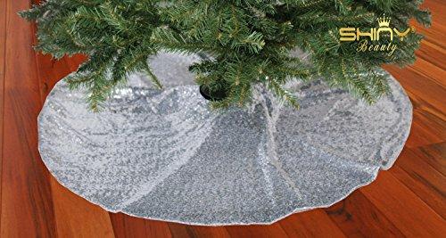 ShinyBeauty Weihnachtsbaumdecke mit Pailletten-Stickerei, glitzernd, 125 cm, silber, 48inch Round Wicker Krippe