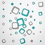 WANDfee® Wandtattoo 40 Vierecke FARBWUNSCH Farbe grau türkis zweifarbig bunte moderne Wanddeko selbstklebende retro Cubes Quadrate Wandaufkleber Wandsticker Fliesenaufkleber Dekoration Deko Aufkleber
