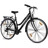 "KCP 28"" Citybike Damen TREKKINGRAD ALU Fahrrad Ara mit 21 Gang Shimano ACERA Schwarz - 71,1 cm (28 Zoll)"