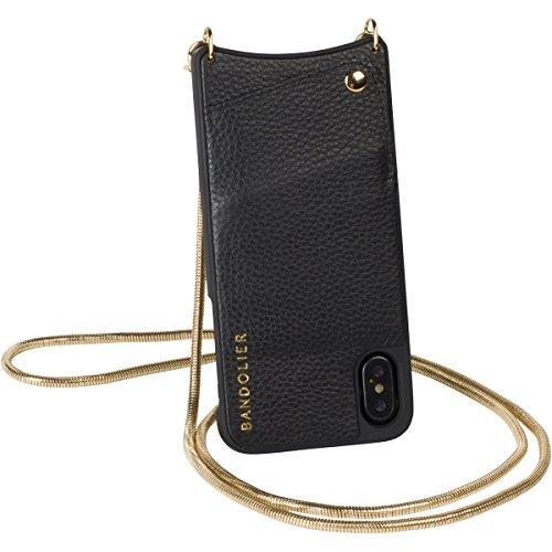 Bandolier [Belinda Custodia Modello iPhone X - Catena di Serpenti Dorati e Black Genuine Designer Wallet. Tracolla Metallica per Documenti e Contanti. Porta Cellulare per trasportare Cellulare.