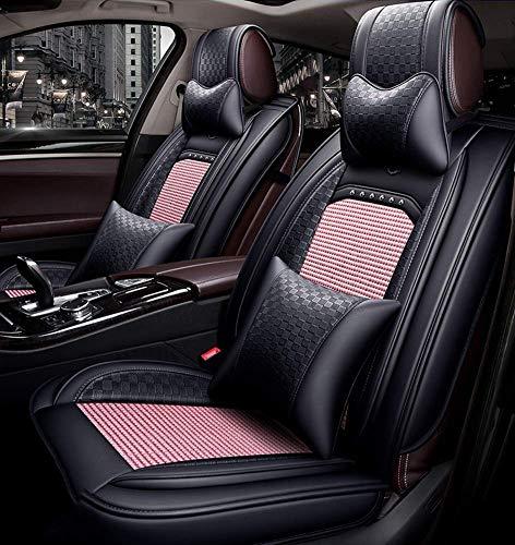 Wsjfc Fodera per Cuscino per seggiolino Auto in Tessuto di Seta Ghiaccio Completamente Anteriore Posteriore Universale Compatibile per BMW Toyota Coprisedile per Auto a Cinque posti, Nero,Ros