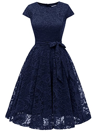 MUADRESS 6008 Damen Kleid aus Spitzen Brautjungfernkleid Cape Knielang Cocktail Vintage Stil...